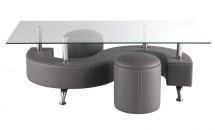 Table basse et 2 Poufs simili gris Candi