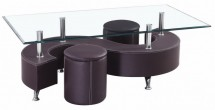 Table basse et 2 Poufs simili marron Candi