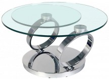 Table basse pivotante verre transparent et métal chromé Ariol