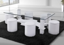 Table basse rectangulaire et 6 poufs simili blanc Kuadri