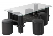 Table basse rectangulaire et 6 poufs simili noir Kuadri