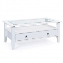 Table basse rectangulaire 2 tiroirs pin massif vernis blanc Prince 115 cm
