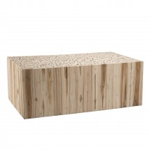 Table basse rectangulaire teck massif clair Kady