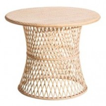 Table basse ronde bambou clair Kafto