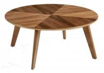 Table basse ronde bois noyer Monza