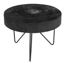 Table basse ronde paulownia massif noir Bialli - Lot de 2