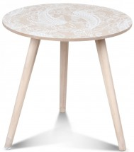Table basse scandinave en bois blanc Vick Tatoo