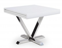 Table carrée extensible blanche Selena 90-180 cm