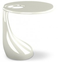 Table d'appoint fibre de verre blanche brillant Laura