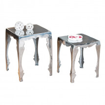 Table d'appoint métal argenté Sola - Lot de 2