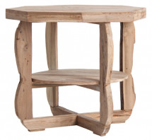 Table d'appoint octogonale bois tropical massif clair Atisch