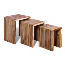 Table d'appoint rectangulaire teck massif recyclé - Lot de 3