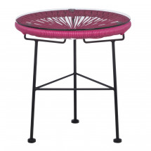 Table d'appoint ronde acier fuchsia Acapulco