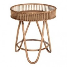 Table d'appoint ronde bambou clair Kafto 52 cm