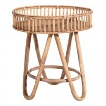 Table d'appoint ronde bambou clair Kafto 41 cm