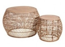 Table d'appoint ronde bambou clair Kafto - Lot de 2