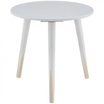 Table d'appoint ronde bois blanc et pieds pin massif Licep