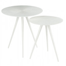 Table d'appoint ronde métal blanc mat Ettis - Lot de 2