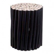 Table d'appoint ronde teck massif noir Atasti