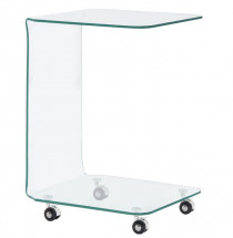 Table d'appoint sur roulettes verre trempé transparent Niu