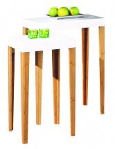 Table d'appoint carrée Bambou Blanc Lizy
