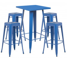 Table de bar carrée bleu brillant et 4 tabourets industriel Pinka