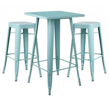 Table de bar carrée bleu pastel brillant et 2 tabourets industriel Pinka