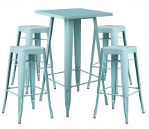 Table de bar carrée bleu pastel brillant et 4 tabourets industriel Pinka