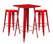 Table de bar carrée rouge brillant et 2 tabourets industriel Pinka