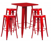 Table de bar carrée rouge brillant et 4 tabourets industriel Pinka