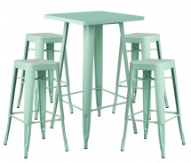 Table de bar carrée vert pastel brillant et 4 tabourets industriel Pinka