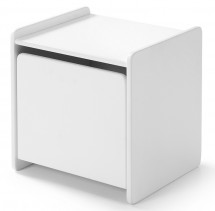Table de chevet 1 porte pin massif laqué blanc Kiddy