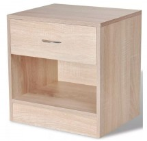 Table de chevet 1 tiroir 1 niche bois clair Chickie - Lot de 2