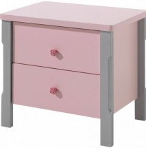 Table de chevet 2 tiroirs gris et rose Girly