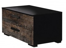 Table de chevet 2 tiroirs noir et marron vintage Loft