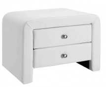 Table de chevet 2 tiroirs simili cuir blanc Sleepa