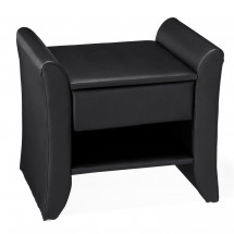 Table de chevet design simili cuir noir mat Traum