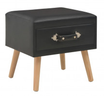 Table de chevet simili cuir noir et pin massif clair Twilly