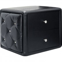 Table de chevet simili cuir noir Suny