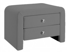 Table de chevet similicuir gris Dina