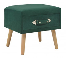 Table de chevet velours vert et pin massif clair Twilly
