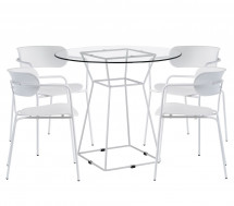 Table et 4 chaises design blanc Kuizo