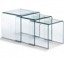 Table gigogne verre trempé transparent Gladisse - Lot de 3