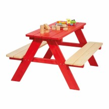 Table Nicki 4 places Rouge massif Pinolino
