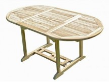 Table ovale extensible teck massif clair Ottis 110/170 cm