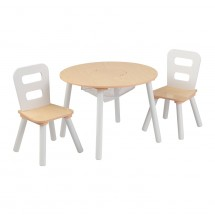 Table ronde 2 chaises blanc et naturel Kidkraft 27027