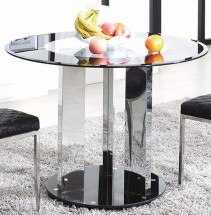 Table ronde design verre trempé transparent Winne