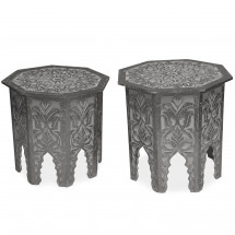 Tables d'appoint bois massif noir Vindou - Lot de 2