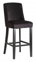 Tabouret de bar hévéa massif et assise velours noir Antchis - Lot de 2