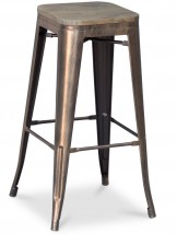 Tabouret Metal Brillant Bronze Assise Bois H 76 Industriel